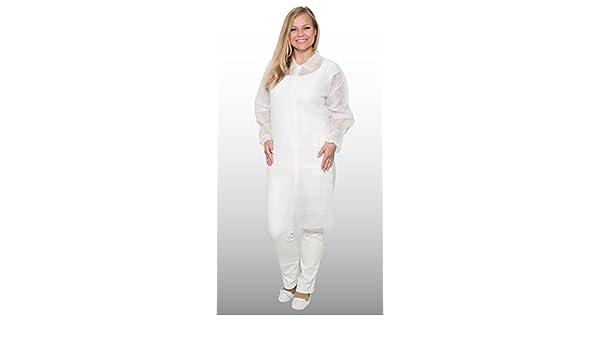 10 batas desechables - talla XXL - hecha de lana de PP - con 4 botones de presión - aptas para alimentos - color: blanco - (bata de laboratorio, ...