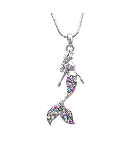 Andyle Fairytale Mermaid Crystal Pink Silver Tone Necklace for Girls and Teens (Colorful) ()
