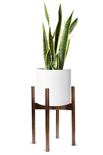 - M-Aimee Plant Stand Mid Century Wood Flower Pot Holder Display Potted Rack Rustic, up to 10 inch Planter (Planter Not Included) (Walnut)