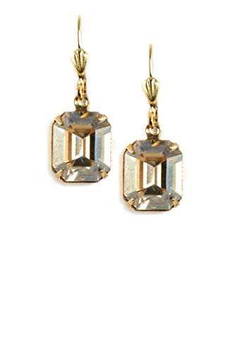 Clara Beau GoldenShadow Swarovski Glass Faceted Crystal Bead GoldTone Little Bee Long Dangle Earrings EAM223G]()