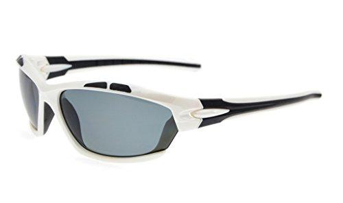 Eyekepper Polycarbonate Polarized Sport Sunglasses For Men Women Baseball Running Fishing Driving Golf Softball Hiking TR90 Unbreakable White Frame Grey - For Lenses Driving Polarised