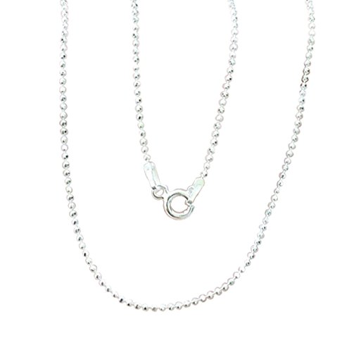 Brand New 925 Stering Silver Bead Round Ball Facet Cut Link Chain 1 mm. x 16