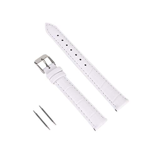 Calfskin Replacement Leather Watch Bands with Deployment Buckle Watch Strap Sliver Watch Clasp Buckle for Men and Women 14mm White ()