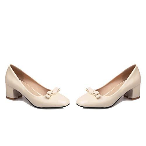 Chaussures Légeres Femme Aalardom Unie Verni Beige Correct À Tsfdh002803 Couleur Talon 08Rq7