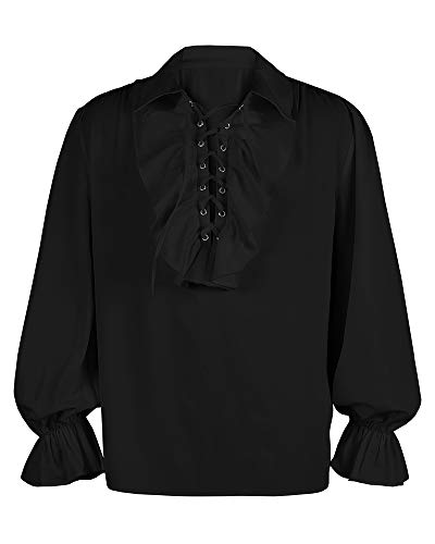 Mens Medieval Gothic Shirts Long Sleeve Ruffle Steampunk Victorian Pirate Cosplay Costume Tops