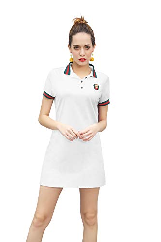 - ZHIJINGBIANWEI Women's Casual Polo Dress Embroidery Badge Stretch Cotton Mini Short Sleeve Polo Shirt Golf Shirt White
