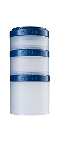 BlenderBottle ProStak Twist n Lock Storage Jars Expansion 3-Pak with Pill Tray, Clear/Navy