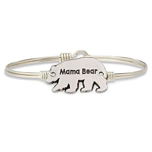 (Luca + Danni Mama Bear Bangle Bracelet - Petite/Silver Tone)