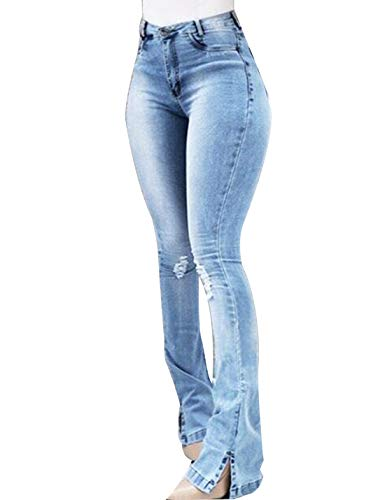 Naliha Women Casual Jeans Ripped High Waisted Bootcut Plus Size Denim Pants Blue M