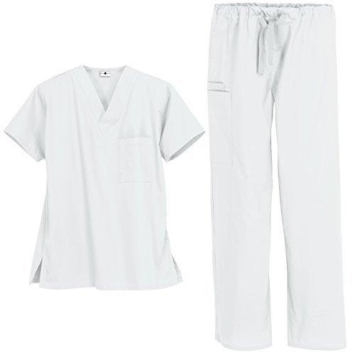Set Nurses Scrubs Uniform (Strictly Scrubs Unisex Medical Uniform Set (Medium, White))