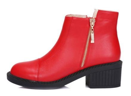 Laruise Women's Leather Martin Boot Red PdXZE5F