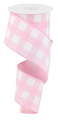 Plaid Check Wired Edge Ribbon - 10 Yards (Light Pink, White, 2.5