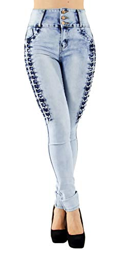(A10260 - Brazilian Design, Butt Lift, High Waist, Skinny Jeans in Blue Size 7 (ML2))