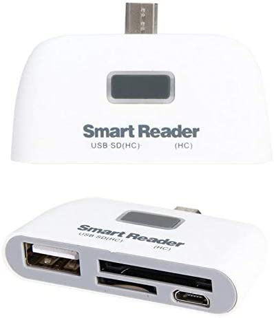 Sala-Deco White 4 in 1 USB 2.0 SD Smart Card Reader Usb SD Card Adapter TF OTG Card Reader With Micro USB Charge Port For PC