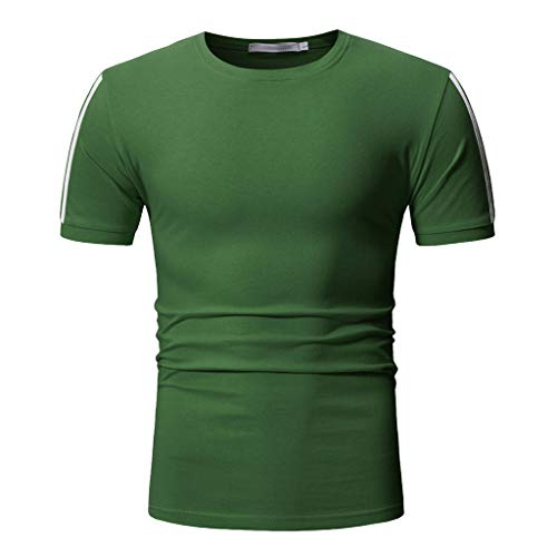Mens Short Sleeve T-Shirt Quick Dry Compression Baselayer Sport Workout Baselayer Tops Tee Shirts Sweatshirts Green