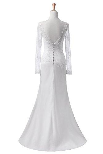 Abendkleid Missdressy Schlitz Satin Ballkleid Silver Lang Meerjungfrau Spitze Partykleid Promkleid 8HUqr8wx4