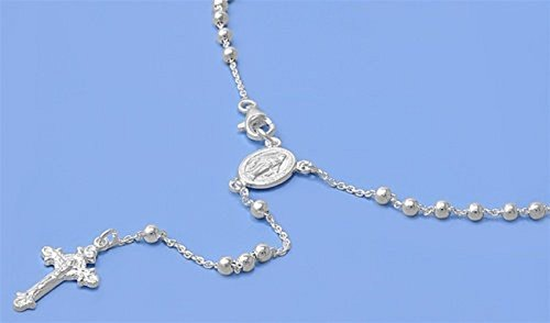 4mm Catholic Italian Sterling Silver Rosary Bead 18mm Cross 16