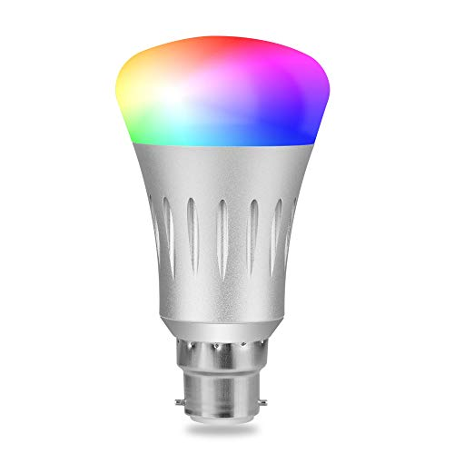 - Aigital Smart WiFi Light Bulb Works with Alexa & Google Assitant and IFTTT RGBW Wi-Fi LED Bulb Dimmable Color Changing Multi-Color,8 Scene Modes Timer Function,No Hub Required B22 App Remote Control