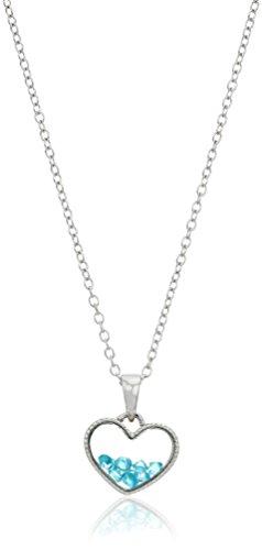 Hallmark Jewelry Collar con colgante de coctelera de corazón flotante con piedra natal de plata esterlina