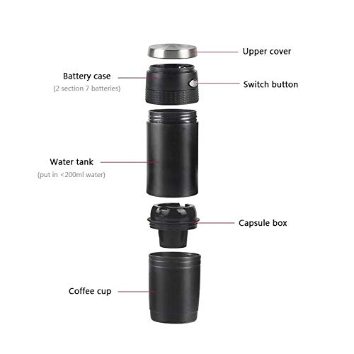 TEEPAO Mini Espresso Portable Machine, Electric Automatic Coffee Maker with 4oz/150ml Capacity & One-Touch Press for Travel Camping Kitchen Office