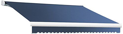 Awntech 18-Feet Key West Left Motorized Retractable Awning, 120-Inch Projection, Dusty Blue