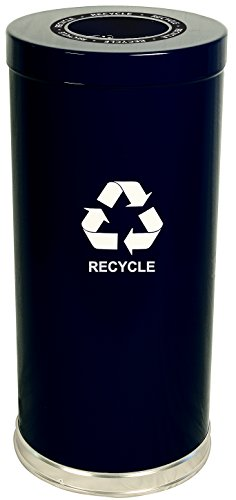Witt Industries 15RTBK-1H Steel 24-Gallon 1 Opening Recycling Container with 1 Metal Liner, Legend