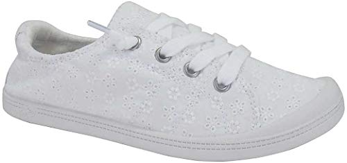 - Jellypop Dallas Womens Slip On Sneakers White Eyelet 9