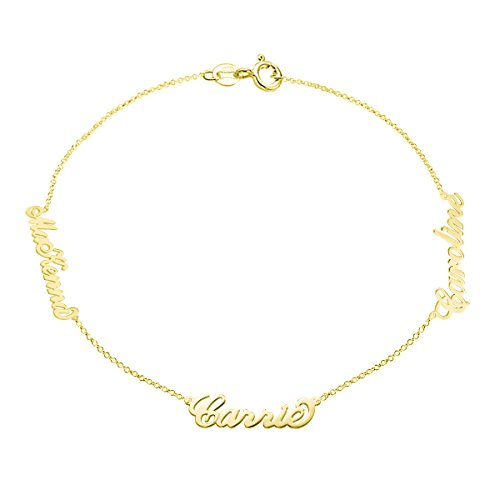 Ouslier 925 Sterling Silver Multiple Names Bracelet with Rollo Chain Custom Made with 3 Names (Golden) ()