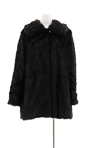 Dennis Basso Platinum Jacquard Faux Fur Coat Navy Black 1X New A284856 from Dennis Basso