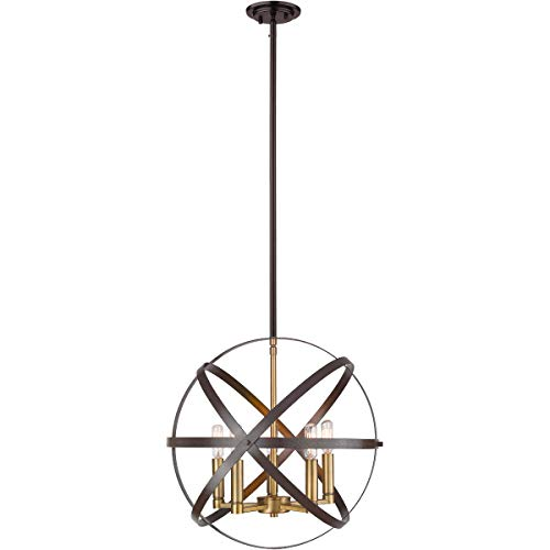 - Chandeliers 5 Light Fixtures with Hammered Bronze and Olde Brass Finish Steel Material Candelabra 18