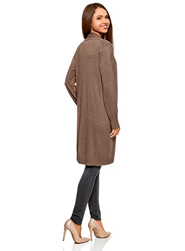 Cardigan sans Marron Collection 3900m Femme Long oodji Fermeture 6YTgnxx