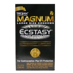 TROJAN MAGNUM Ecstasy Condoms Ultrasmooth Lubricant Large Size 10 Each