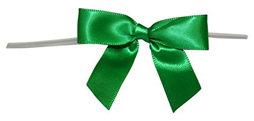 Reliant Ribbon Satin Twist Tie Bows - Small Ribbon, 5/8 Inch X 100 Pieces, Emerald Green ()