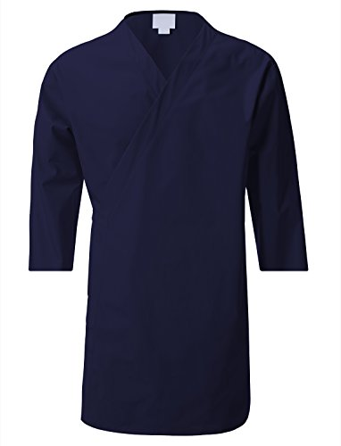 7Encounter Unisex Multifunctional 3/4 Sleeves Wrap Smock Navy Size L/XL Wrap Around Smock