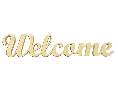 Mini 3″ Script Welcome Word Miniature Unfinished DIY Wooden Craft Cutout to Sell Stacked
