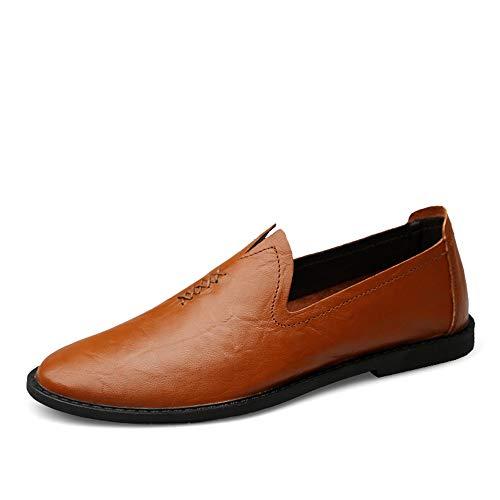 a3dc911d Cuero Zapatos Ocasional Cómodos Suave Mxnet Marron Que Negocios De Oscuro  Mocasín Barcos Para Suela Mocasines Conduce Hombre Sólido Hombres Color ...