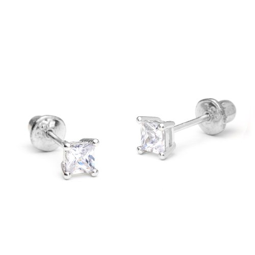 Sterling Princess Zirconia Screwback Earrings product image