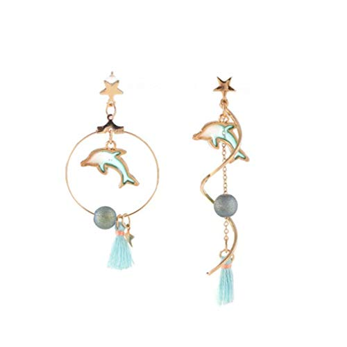 - CHASIROMA Crystal Tassel Earrings Dangle Drop Earrings for Women Girls Dolphin Stud Earrings Women Gifts