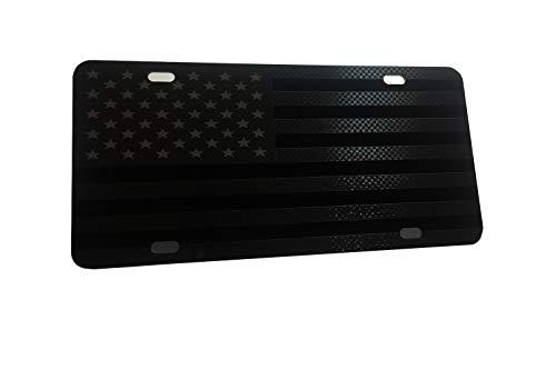 CustoMonsterDesigns Tactical American Flag License Plate (Full Gun Metal Blk Stars Edition on Black)