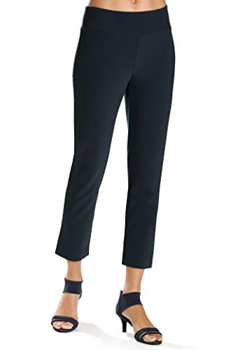 Boston Proper Women's Wrinkle-Resistant Solid Color Knit Crop Pant Maritme Navy X Small ()
