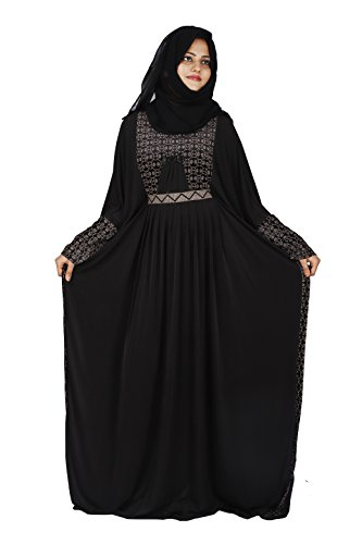 D C Women's Butterfly Velvet Lycra Dubai Style Abaya with Dupatta and Mouthpeice (AB_02, Black, Free Size)