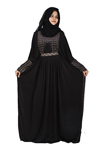 D C Women's Butterfly Velvet Lycra Dubai Style Abaya with Dupatta and Mouthpeice (AB_02, Black, Free Size)