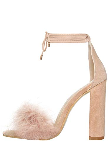 Onlymaker Women's Lace Up Ankle Strap Fluffy Marabou Feather Gladiator Strappy Chunky High Heel Sandals Beige 6 M US ()