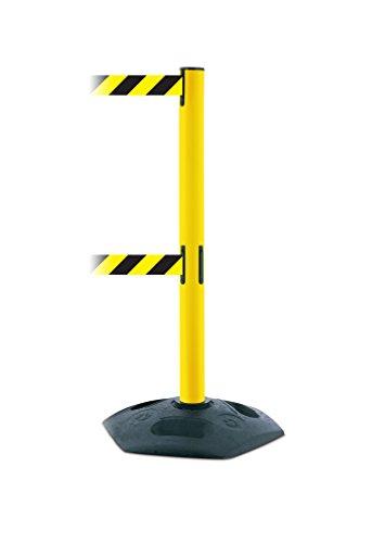 Tensabarrier 886T2-35-MAX-NO-D4X-C Heavy Duty Dual Line Outdoor Post with Yellow Tube, No Custom Black/Yellow Chevron Webbing Standard Belt End, Maximum 13'