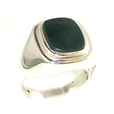 Gents Solid 925 Sterling Silver Natural Bloodstone Mens Mans Signet Ring - Sizes 6 to 13