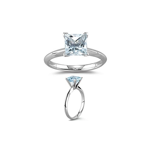 1.60 Ct 7 mm AA Princess Aquamarine Solitaire Ring in 14K White Gold