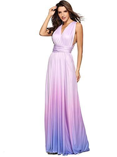 Clothink Convertible Wrap Gradient Color Summer Maxi Beach Dress XL