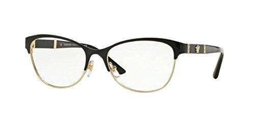 Versace VE1233Q Eyeglass Frames 1366-53 - Black/pale Gold VE1233Q ...