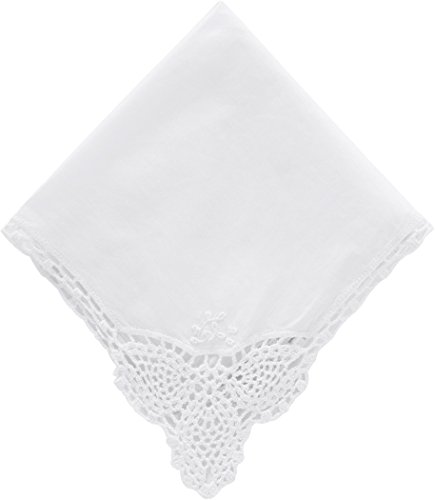 Wishprom Wedding Handkerchief Hankie Dainty Cotton with Crochet Edges for (Lace Edged Handkerchief)