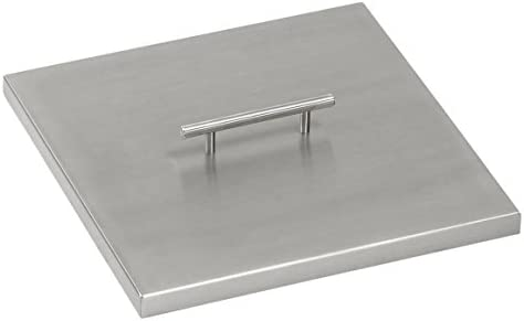 American Fireglass CV-SQP-12 Stainless Steel Cover For 12 Inch Length x 12 Inch Width Drop-In Fire Pit Pan
